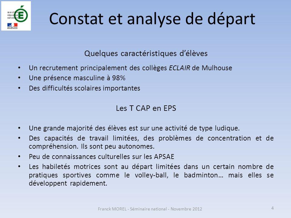 Constat et analyse de départ Quelques caractéristiques délèves Un recrutement principalement des collèges ECLAIR de Mulhouse Une présence masculine à