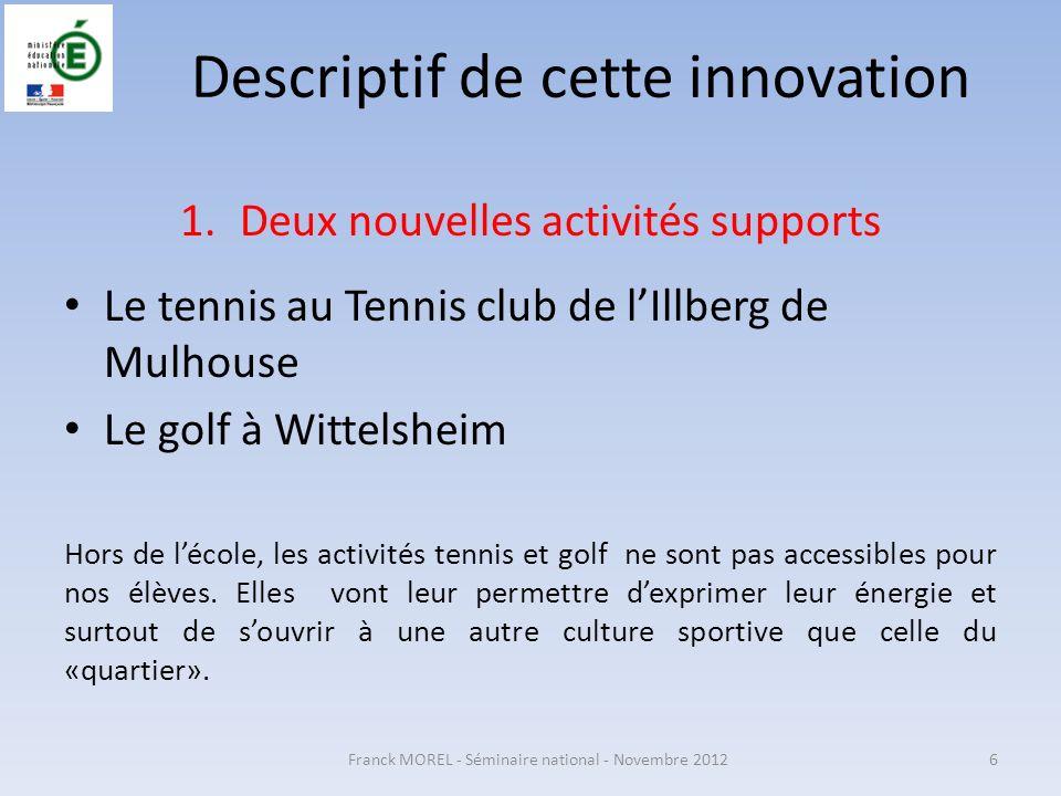 Descriptif de cette innovation 1.Deux nouvelles activités supports Le tennis au Tennis club de lIllberg de Mulhouse Le golf à Wittelsheim Hors de léco