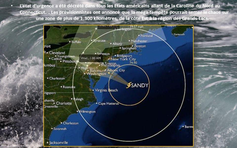 Létat durgence a été décrété dans tous les Etats américains allant de la Caroline du Nord au Connecticut..