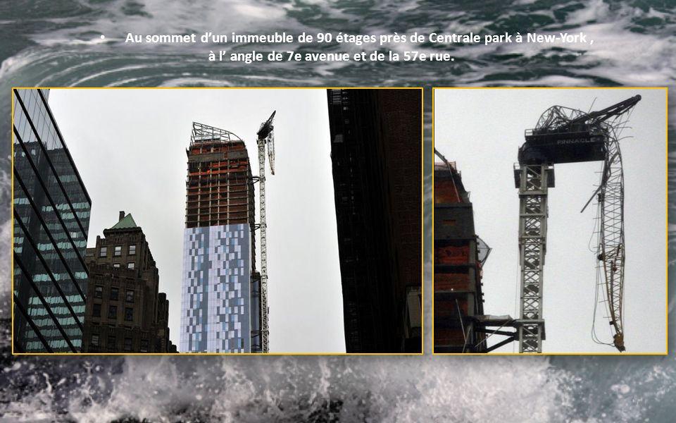 Les eaux sont montées jusquà 4m15 à la marée montante dans le quartier de Battery Park au sud de Manhattan