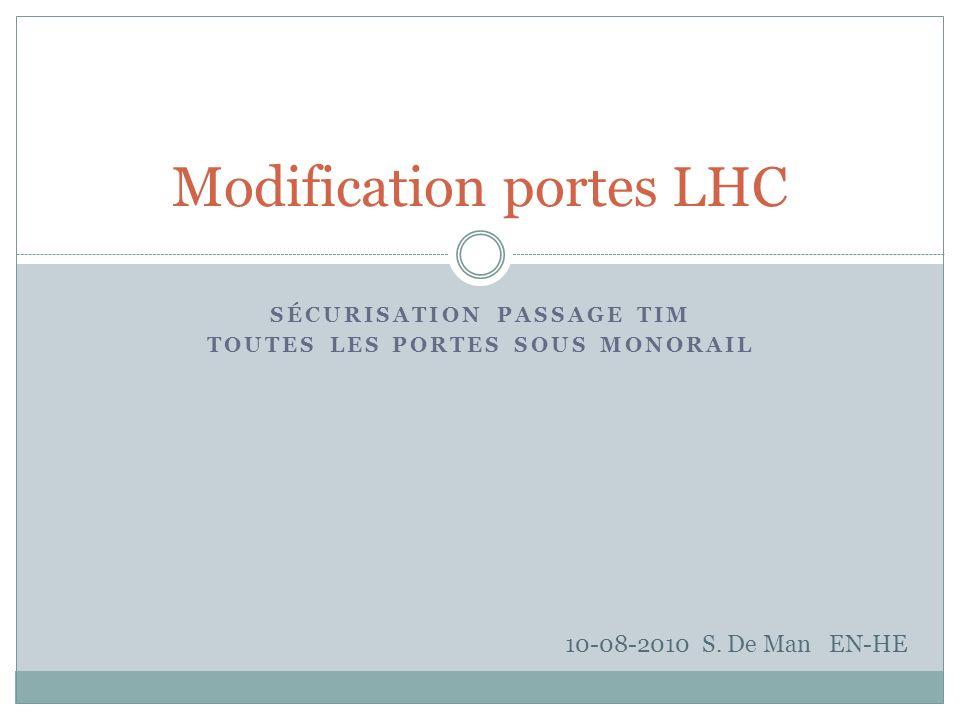 SÉCURISATION PASSAGE TIM TOUTES LES PORTES SOUS MONORAIL Modification portes LHC 10-08-2010 S.