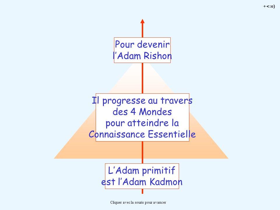 +<:o) Cliquer avec la souris pour avancer LAdam primitif est lAdam Kadmon Il progresse au travers des 4 Mondes pour atteindre la Connaissance Essentie