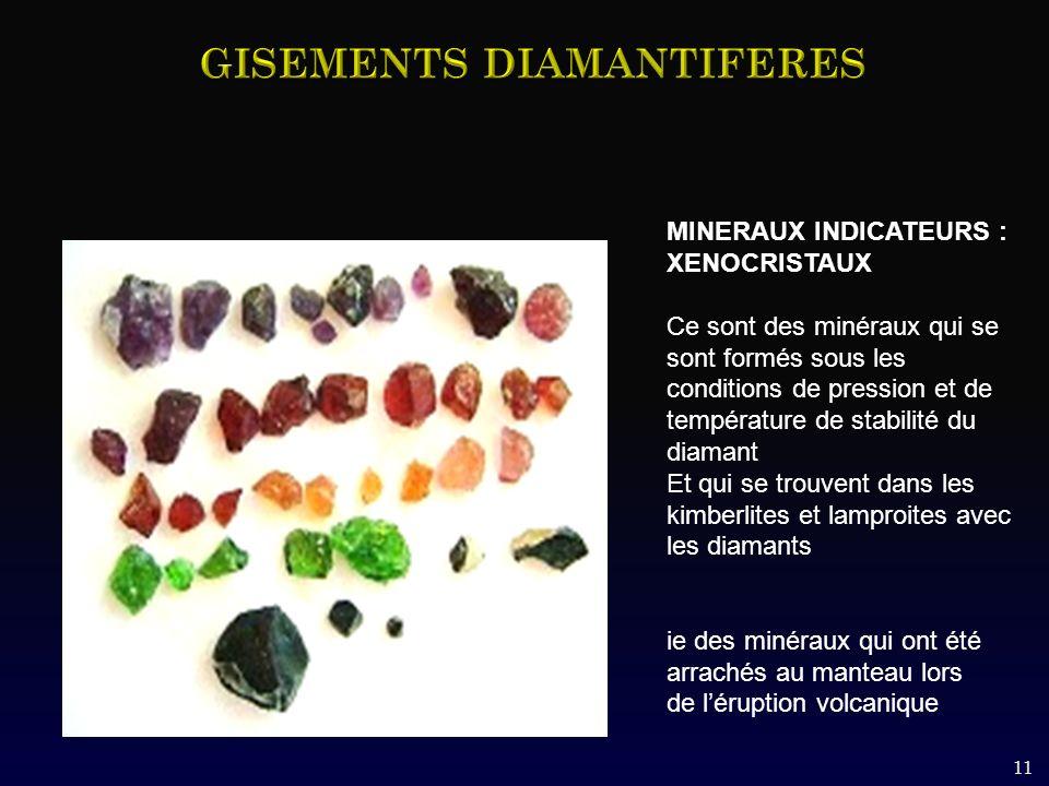 MINERAUX INDICATEURS : XENOCRISTAUX Ce sont des minéraux qui se sont formés sous les conditions de pression et de température de stabilité du diamant Et qui se trouvent dans les kimberlites et lamproites avec les diamants ie des minéraux qui ont été arrachés au manteau lors de léruption volcanique 11