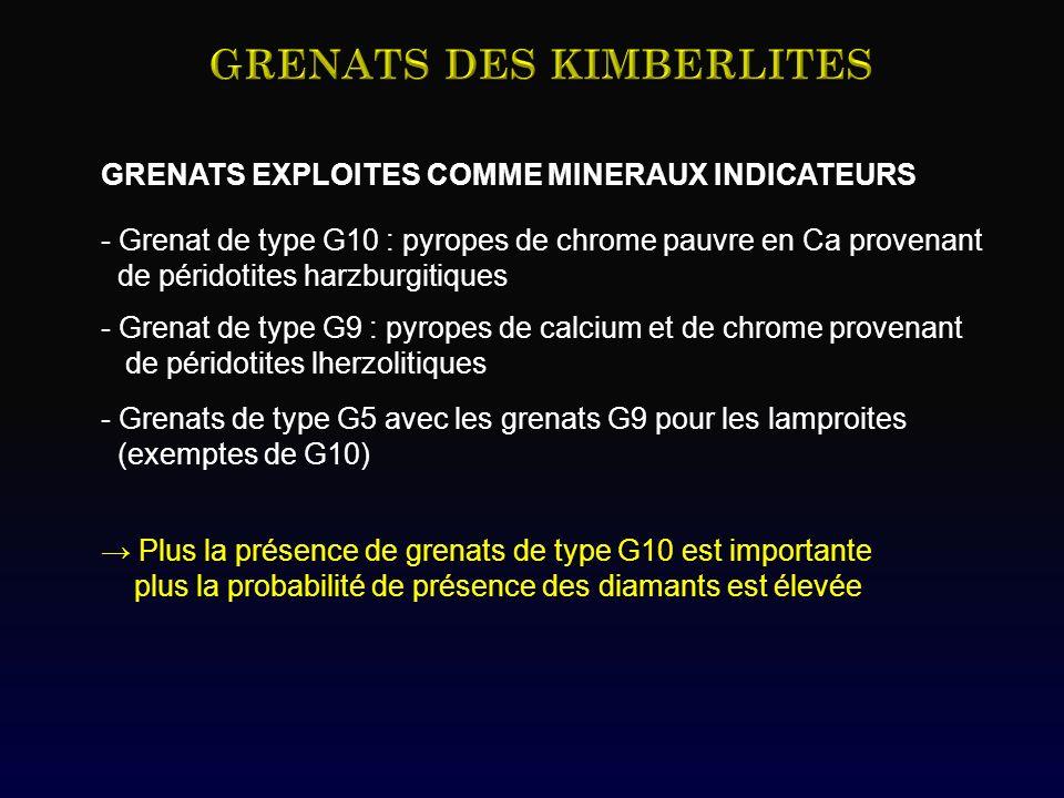 GRENATS EXPLOITES COMME MINERAUX INDICATEURS - Grenat de type G10 : pyropes de chrome pauvre en Ca provenant de péridotites harzburgitiques - Grenat d