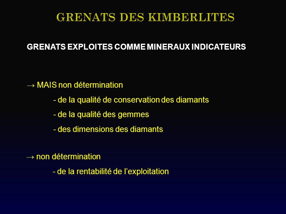 GRENATS EXPLOITES COMME MINERAUX INDICATEURS MAIS non détermination - de la qualité de conservation des diamants - de la qualité des gemmes - des dimensions des diamants non détermination - de la rentabilité de lexploitation