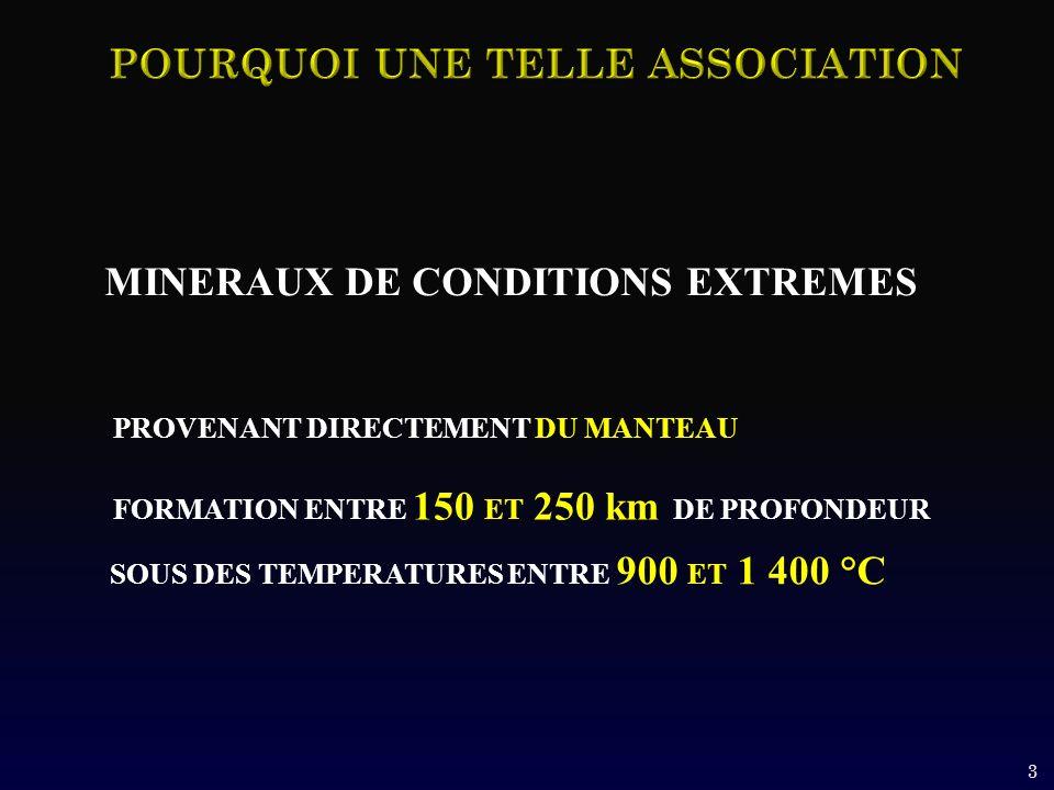 MINERAUX DE CONDITIONS EXTREMES PROVENANT DIRECTEMENT DU MANTEAU FORMATION ENTRE 150 ET 250 km DE PROFONDEUR SOUS DES TEMPERATURES ENTRE 900 ET 1 400