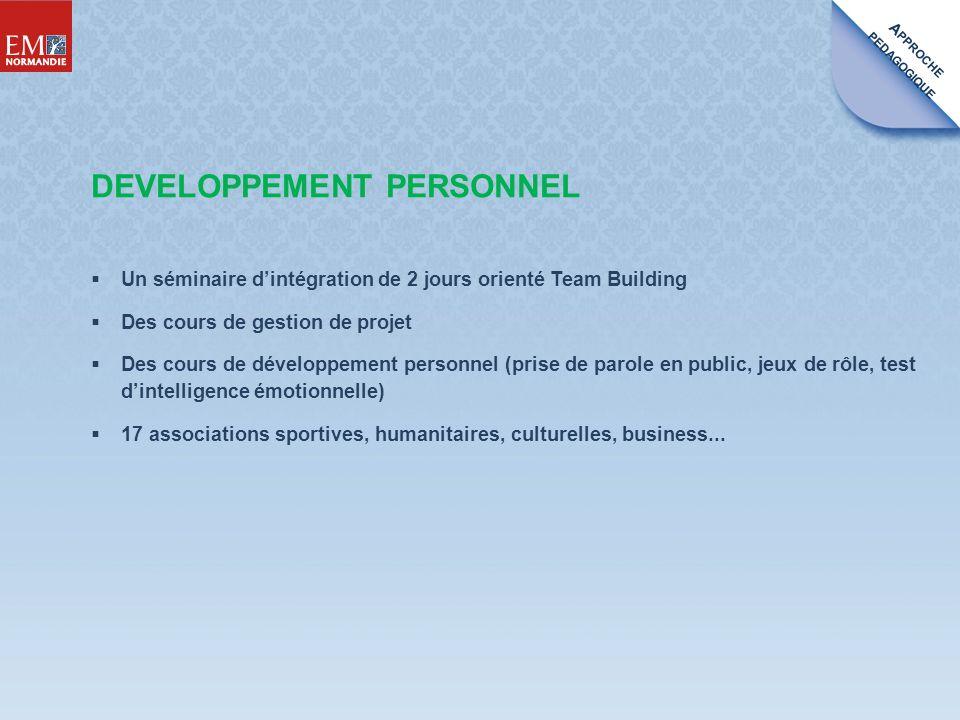 A PPROCHE PEDAGOGIQUE Un séminaire dintégration de 2 jours orienté Team Building Des cours de gestion de projet Des cours de développement personnel (