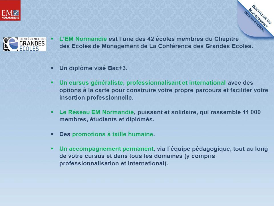 B ACHELOR EN M ANAGEMENT I NTERNATIONAL LEM Normandie est lune des 42 écoles membres du Chapitre des Ecoles de Management de La Conférence des Grandes