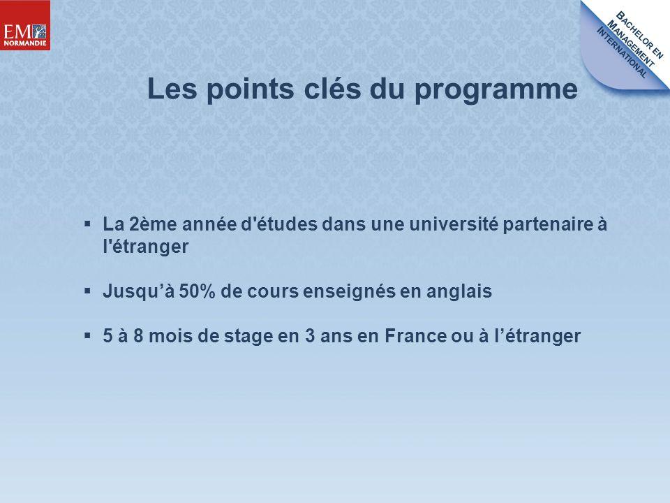 B ACHELOR EN M ANAGEMENT I NTERNATIONAL La 2ème année d études dans une université partenaire à l étranger Jusquà 50% de cours enseignés en anglais 5 à 8 mois de stage en 3 ans en France ou à létranger Les points clés du programme