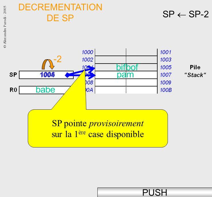 © Alexandre Parodi - 2005 SP SP-2 1004 PUSH DECREMENTATION DE SP babe pam 1006 -2 SP pointe provisoirement sur la 1 ère case disponible bifbof