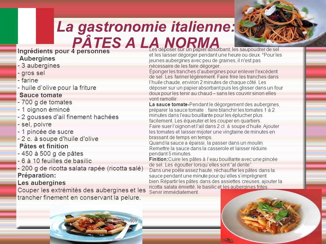 La gastronomie italienne: PÂTES A LA NORMA Les déposer sur un papier absorbant; les saupoudrer de sel et les laisser dégorger pendant une heure ou deu