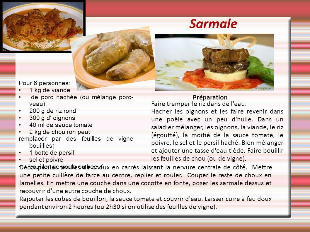Sarmale Pour 6 personnes: 1 kg de viande de porc hachée (ou mélange porc- veau) 200 g de riz rond 300 g d' oignons 40 ml de sauce tomate 2 kg de chou
