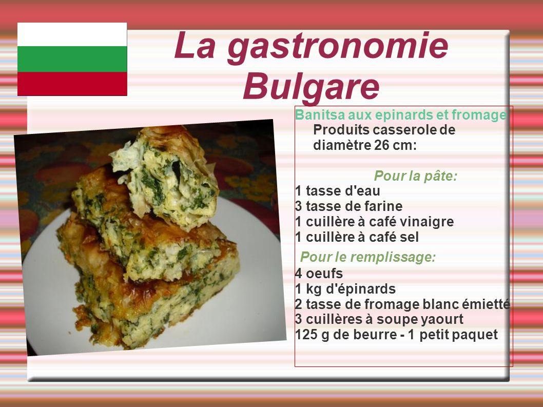 La gastronomie Bulgare Banitsa aux epinards et fromage Produits casserole de diamètre 26 cm: Pour la pâte: 1 tasse d'eau 3 tasse de farine 1 cuillère