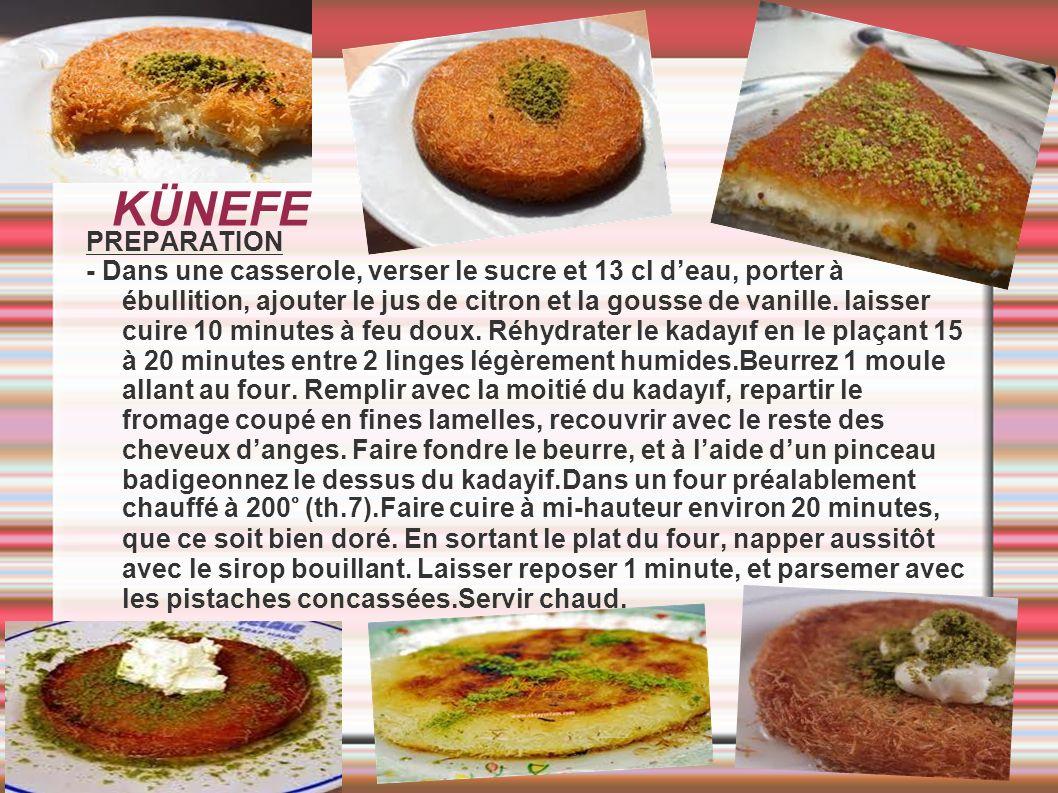 KÜNEFE PREPARATION - Dans une casserole, verser le sucre et 13 cl deau, porter à ébullition, ajouter le jus de citron et la gousse de vanille. laisser