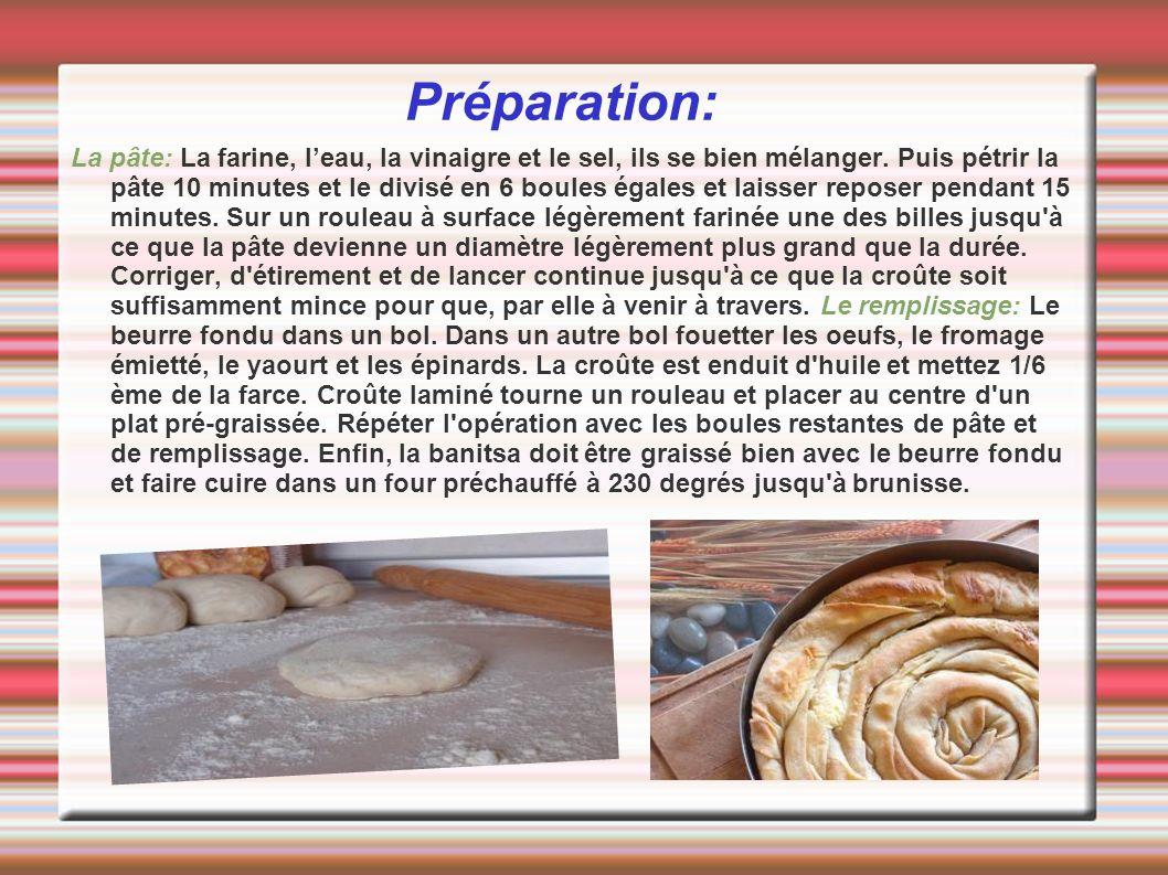 Préparation: La pâte: La farine, leau, la vinaigre et le sel, ils se bien mélanger. Puis pétrir la pâte 10 minutes et le divisé en 6 boules égales et