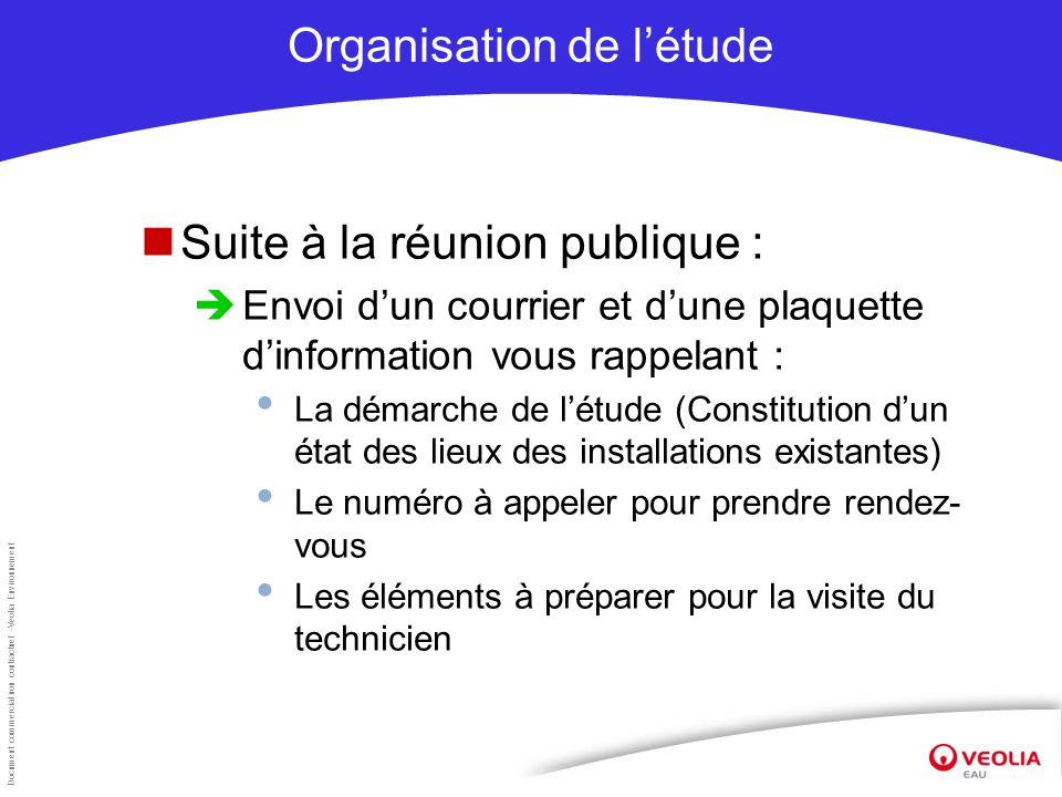 Document commercial non contractuel –Veolia Environnement Organisation de létude Suite à la réunion publique : Envoi dun courrier et dune plaquette di