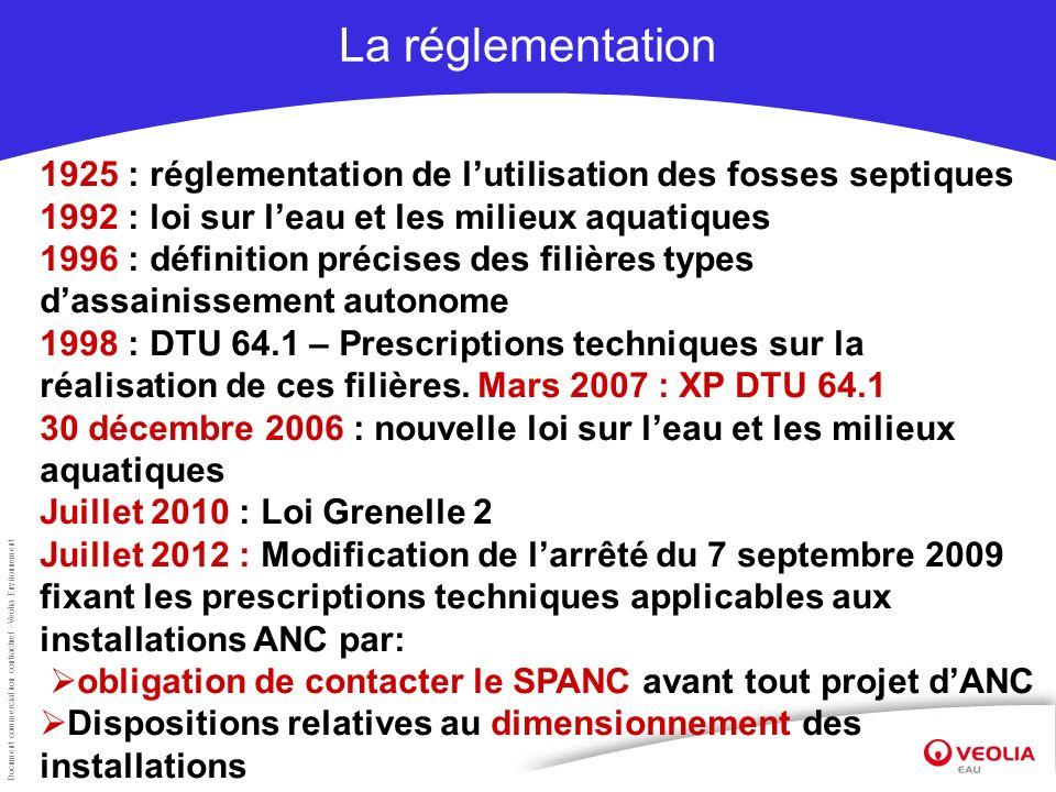 Document commercial non contractuel –Veolia Environnement La réglementation 1925 : réglementation de lutilisation des fosses septiques 1992 : loi sur