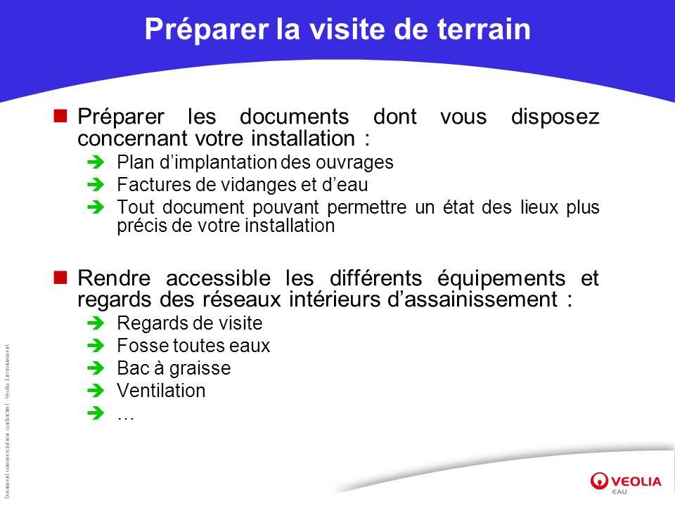 Document commercial non contractuel –Veolia Environnement Préparer la visite de terrain Préparer les documents dont vous disposez concernant votre ins