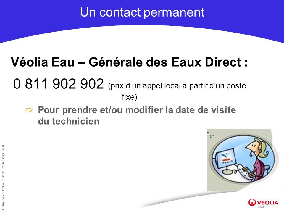 Document commercial non contractuel –Veolia Environnement Un contact permanent Véolia Eau – Générale des Eaux Direct : 0 811 902 902 (prix dun appel l