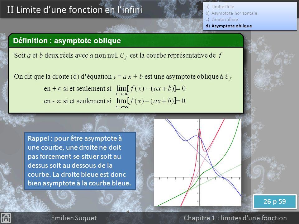 Définition On dit que la fonction f a pour limite - quand x tend vers + (respectivement -) si et seulement si tout intervalle ouvert ]-;A[ contient toutes les valeurs de f(x) pour x assez grand (respectivement assez petit) Définition équivalente On dit que la fonction f a pour limite - quand x tend vers + (respectivement -) si et seulement si pour tout réel A il existe un réel M tel que pour tout x>M on a f(x)<A (respectivement pour tout x<M on a f(x)<A) Notation II Limite dune fonction en linfini a)Limite finie b)Asymptote horizontale c)Limite infinie d)Asymptote oblique a)Limite finie b)Asymptote horizontale c)Limite infinie d)Asymptote oblique Emilien Suquet Chapitre 1 : limites dune fonction ASAVOIR RETROUVERASAVOIR RETROUVER ASAVOIR RETROUVERASAVOIR RETROUVER 34 p 60 34 p 60