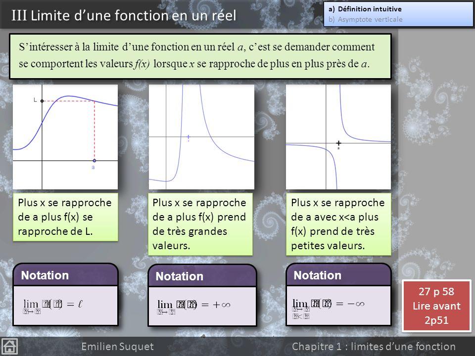 II Limite dune fonction en linfini a)Limite finie b)Asymptote horizontale c)Limite infinie d)Asymptote oblique a)Limite finie b)Asymptote horizontale c)Limite infinie d)Asymptote oblique Emilien Suquet Chapitre 1 : limites dune fonction Rappel : pour être asymptote à une courbe, une droite ne doit pas forcement se situer soit au dessus soit au dessous de la courbe.