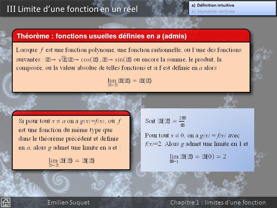 III Limite dune fonction en un réel Sintéresser à la limite dune fonction en un réel a, cest se demander comment se comportent les valeurs f(x) lorsque x se rapproche de plus en plus près de a.