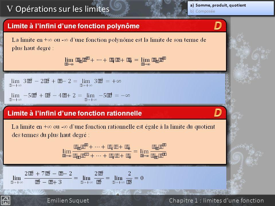 On constate au final que les formes indéterminées sont de la forme : V Opérations sur les limites a)Somme, produit, quotient b)Composée a)Somme, produ