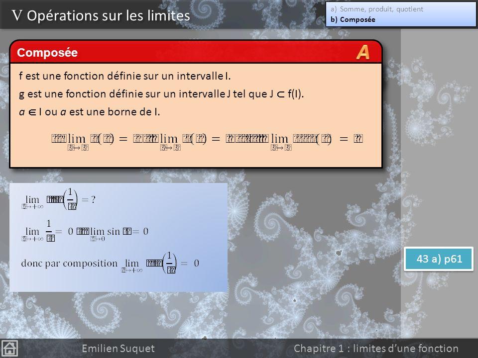 Limite à linfini dune fonction polynôme Emilien Suquet Chapitre 1 : limites dune fonction Limite à linfini dune fonction rationnelle V Opérations sur les limites a)Somme, produit, quotient b)Composée a)Somme, produit, quotient b)Composée