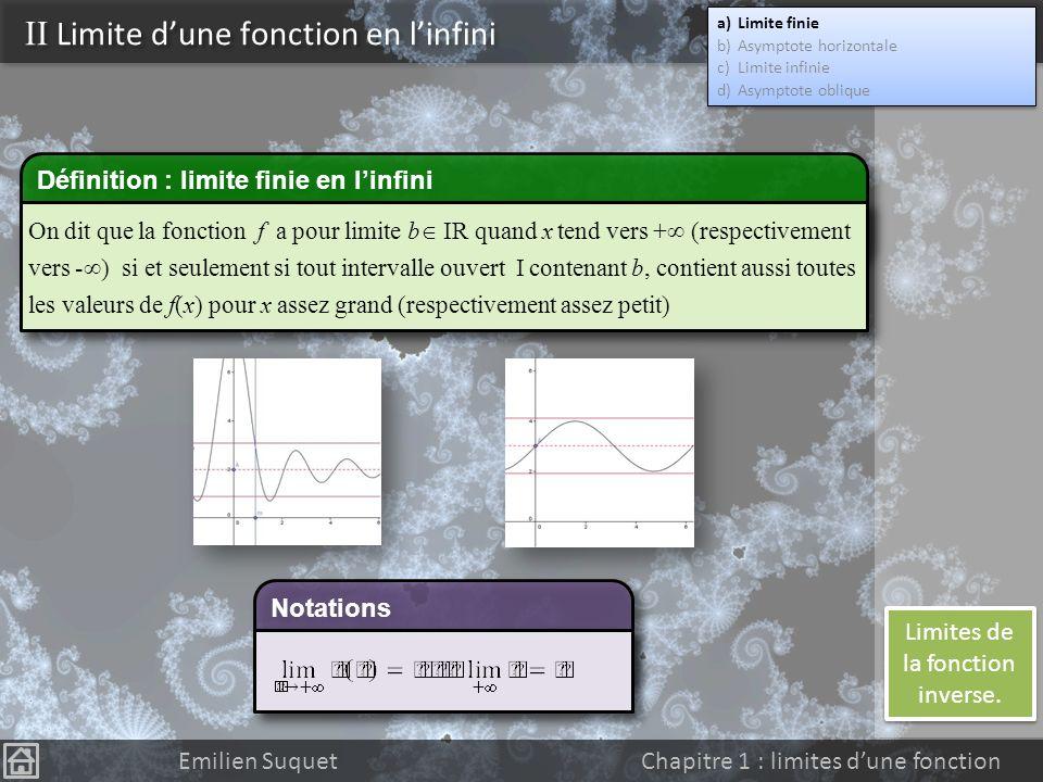 I Introduction Emilien Suquet Chapitre 1 : limites dune fonction