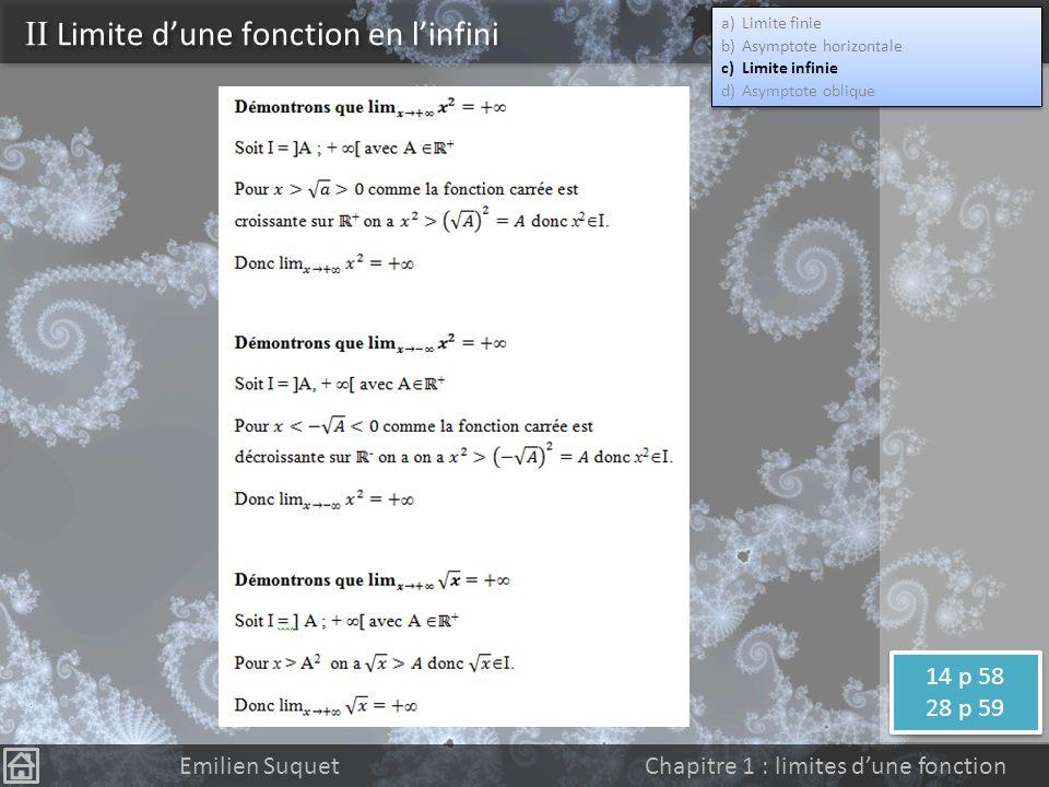 Définition On dit que la fonction f a pour limite + quand x tend vers + (respectivement -) si et seulement si tout intervalle ouvert ]A; +[ contient toutes les valeurs de f(x) pour x assez grand (respectivement assez petit) Notation Définition équivalente On dit que la fonction f a pour limite + quand x tend vers + (respectivement -) si et seulement si pour tout réel A il existe un réel M tel que pour tout x>M on a f(x)>A (respectivement pour tout x A) II Limite dune fonction en linfini a)Limite finie b)Asymptote horizontale c)Limite infinie d)Asymptote oblique a)Limite finie b)Asymptote horizontale c)Limite infinie d)Asymptote oblique Emilien Suquet Chapitre 1 : limites dune fonction Limites des fonctions carrée et racine.