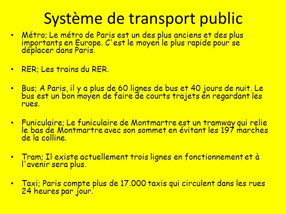 Système de transport public Métro; Le métro de Paris est un des plus anciens et des plus importants en Europe.