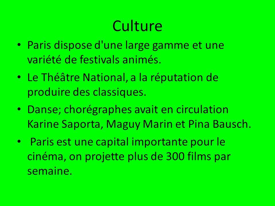 Culture Paris dispose d une large gamme et une variété de festivals animés.