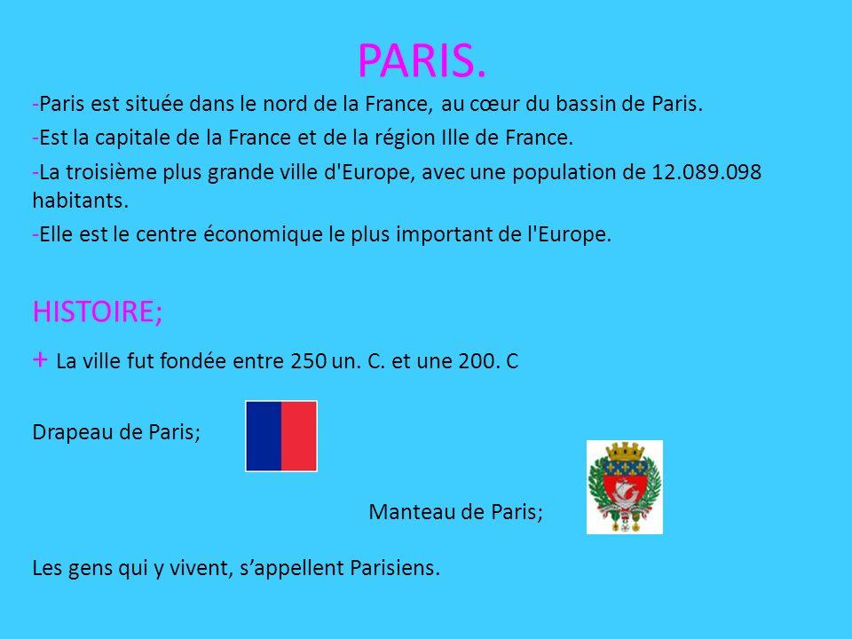 PARIS.-Paris est située dans le nord de la France, au cœur du bassin de Paris.