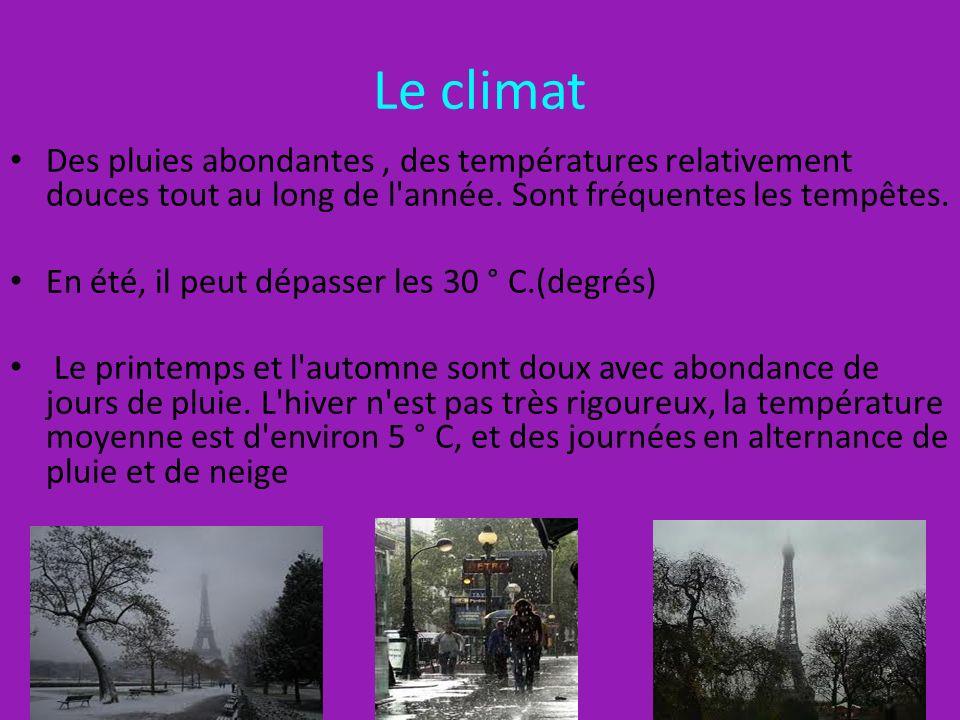 Le climat Des pluies abondantes, des températures relativement douces tout au long de l année.
