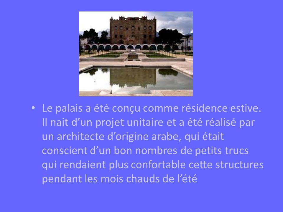 Le palais a été conçu comme résidence estive. Il nait dun projet unitaire et a été réalisé par un architecte dorigine arabe, qui était conscient dun b