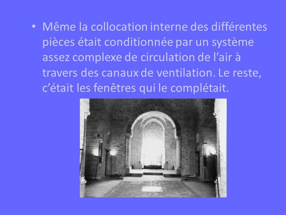 Même la collocation interne des différentes pièces était conditionnée par un système assez complexe de circulation de lair à travers des canaux de ven