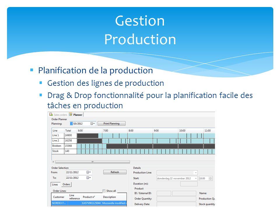 Planification de la production Gestion des lignes de production Drag & Drop fonctionnalité pour la planification facile des tâches en production Gesti