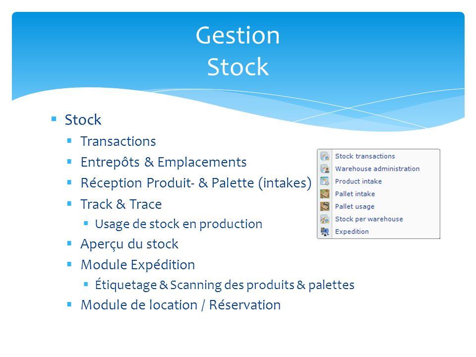 Stock Transactions Entrepôts & Emplacements Réception Produit- & Palette (intakes) Track & Trace Usage de stock en production Aperçu du stock Module E