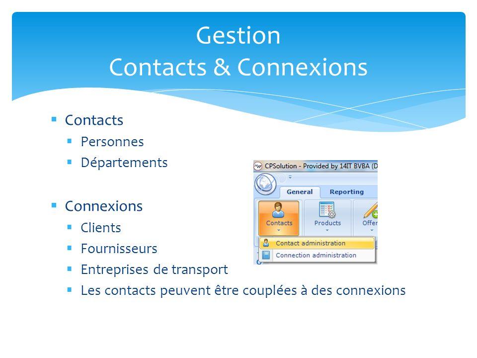 Contacts Personnes Départements Connexions Clients Fournisseurs Entreprises de transport Les contacts peuvent être couplées à des connexions Gestion C