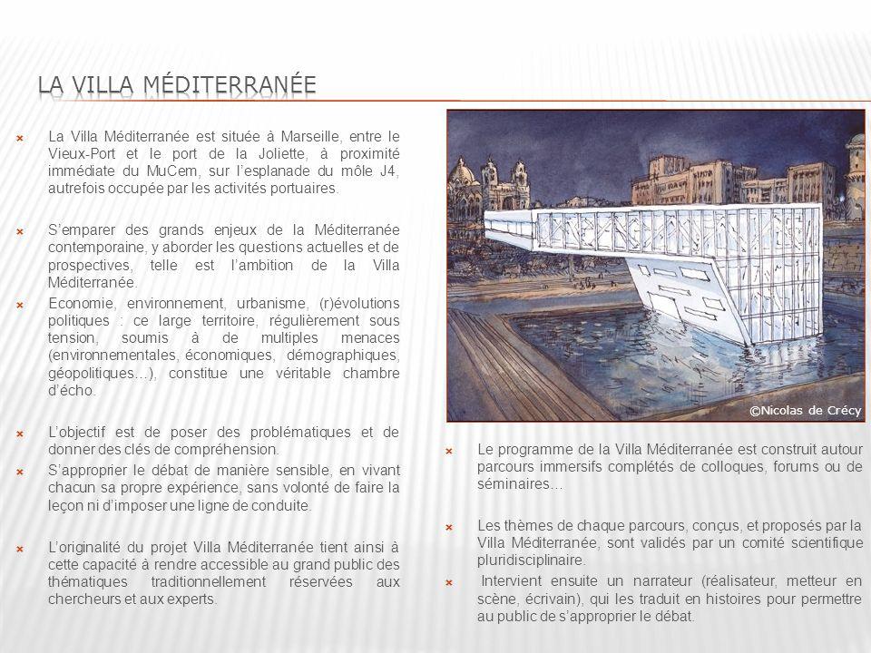 La Villa Méditerranée est située à Marseille, entre le Vieux-Port et le port de la Joliette, à proximité immédiate du MuCem, sur lesplanade du môle J4, autrefois occupée par les activités portuaires.