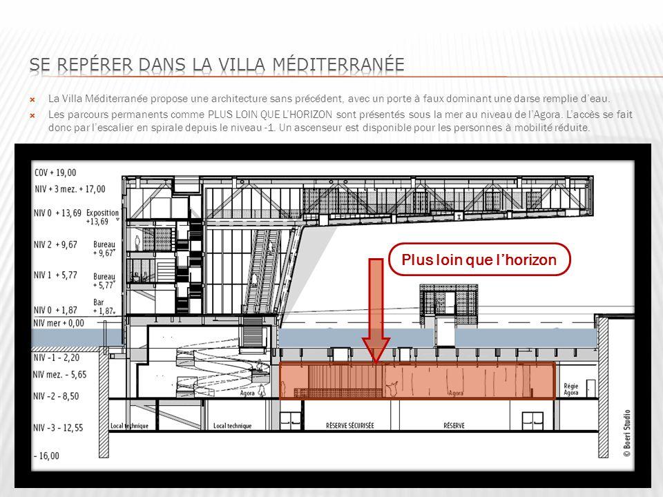 La Villa Méditerranée propose une architecture sans précédent, avec un porte à faux dominant une darse remplie deau.