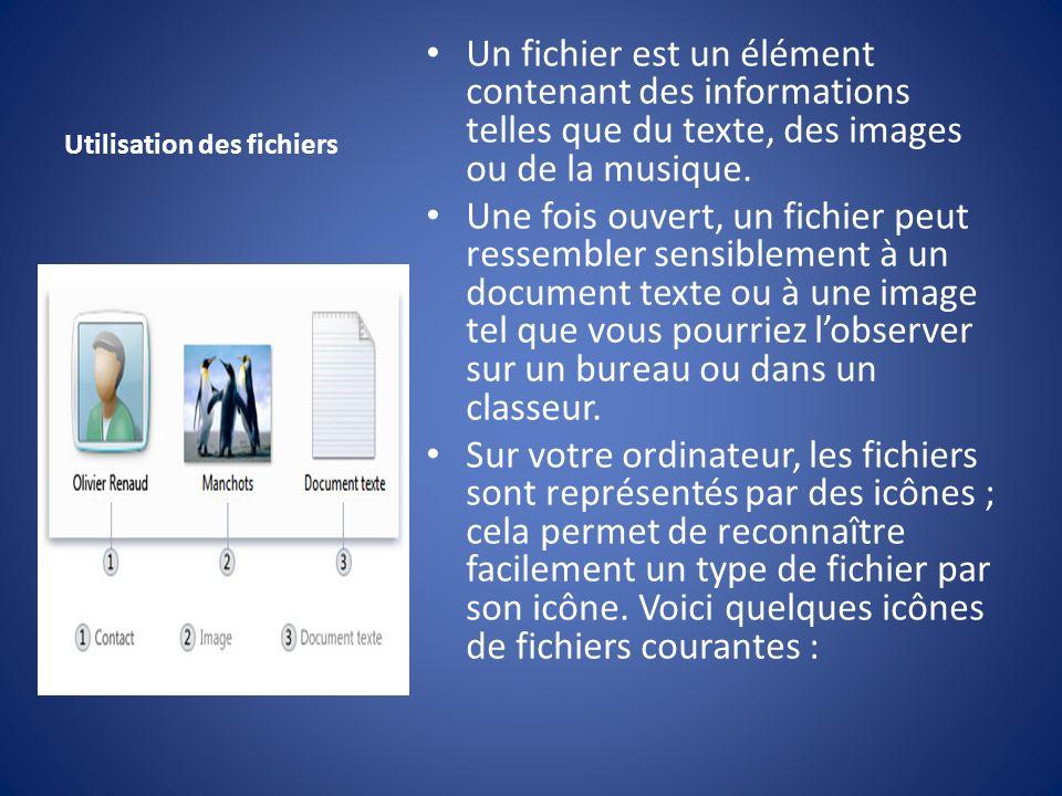 Utilisation des fichiers Un fichier est un élément contenant des informations telles que du texte, des images ou de la musique. Une fois ouvert, un fi