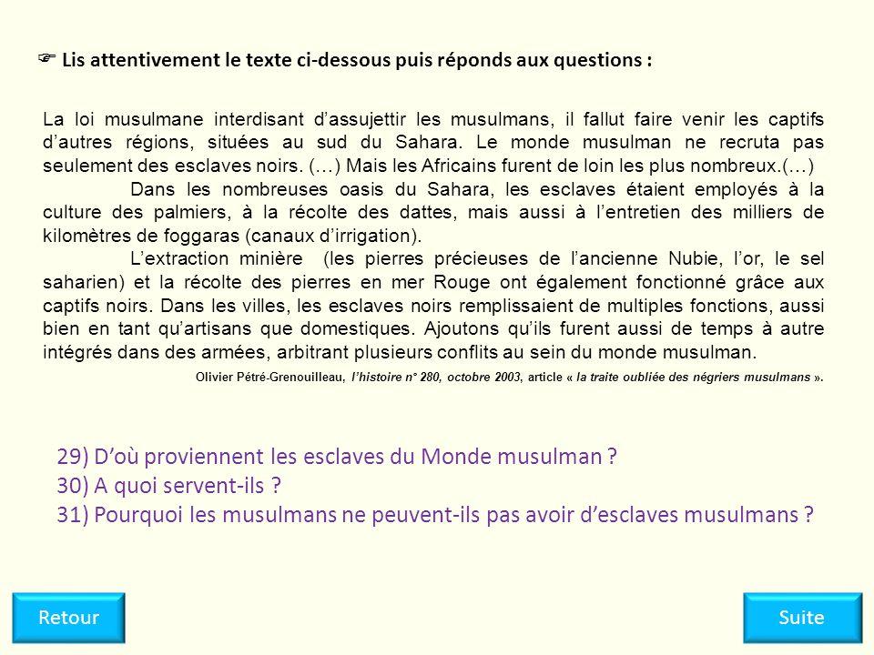 La loi musulmane interdisant dassujettir les musulmans, il fallut faire venir les captifs dautres régions, situées au sud du Sahara. Le monde musulman