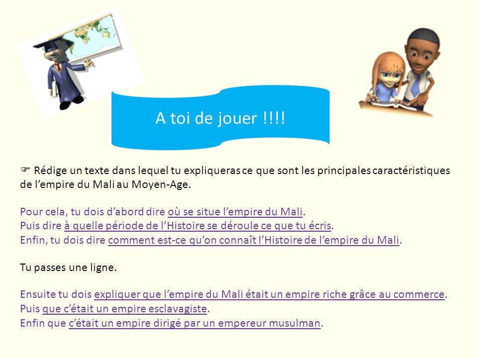 Rédige un texte dans lequel tu expliqueras ce que sont les principales caractéristiques de lempire du Mali au Moyen-Age. Pour cela, tu dois dabord dir