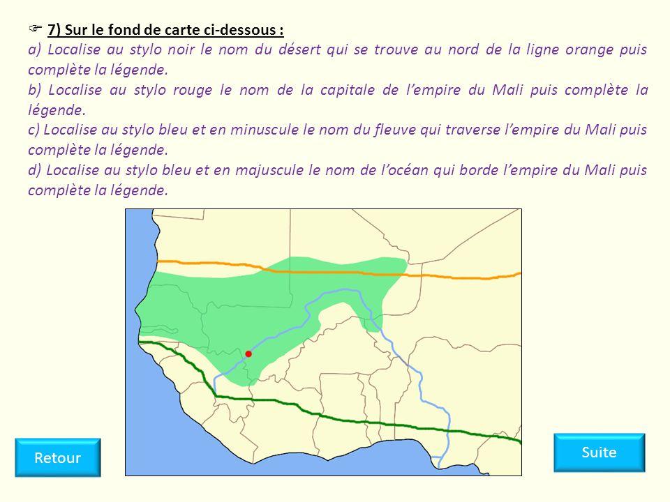 7) Sur le fond de carte ci-dessous : a) Localise au stylo noir le nom du désert qui se trouve au nord de la ligne orange puis complète la légende. b)
