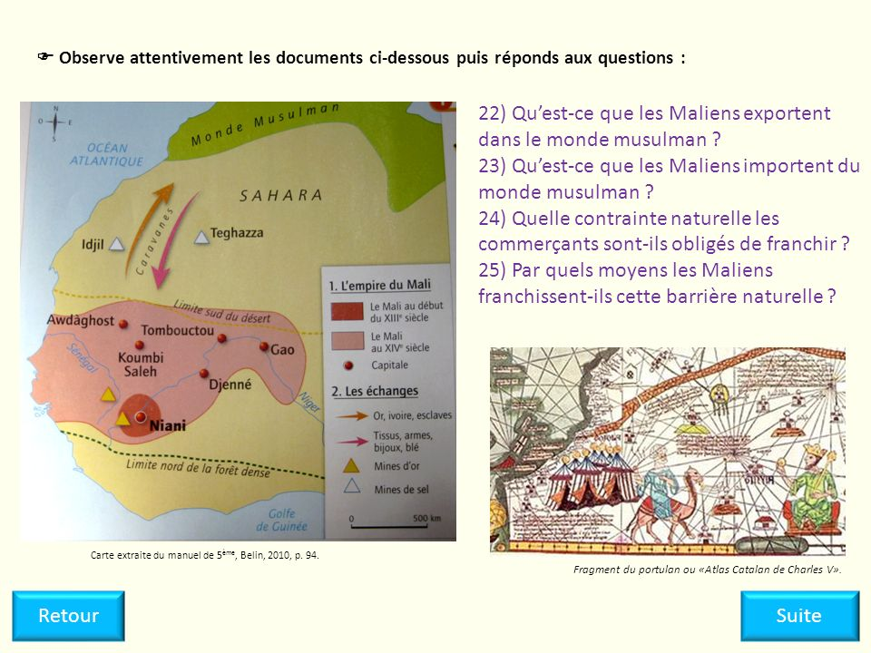22) Quest-ce que les Maliens exportent dans le monde musulman ? 23) Quest-ce que les Maliens importent du monde musulman ? 24) Quelle contrainte natur