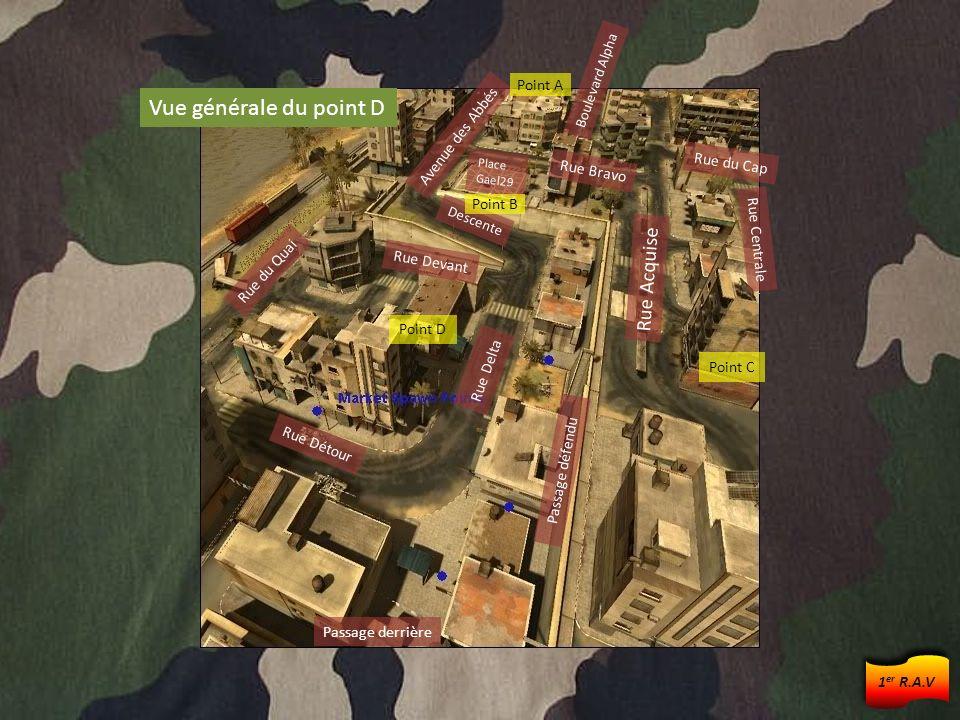 Point D Rue Acquise Avenue des Abbés Boulevard Alpha Rue Delta Place Gael29 Descente Rue du Quai Passage défendu Rue Détour Point B Point C Point A Vu