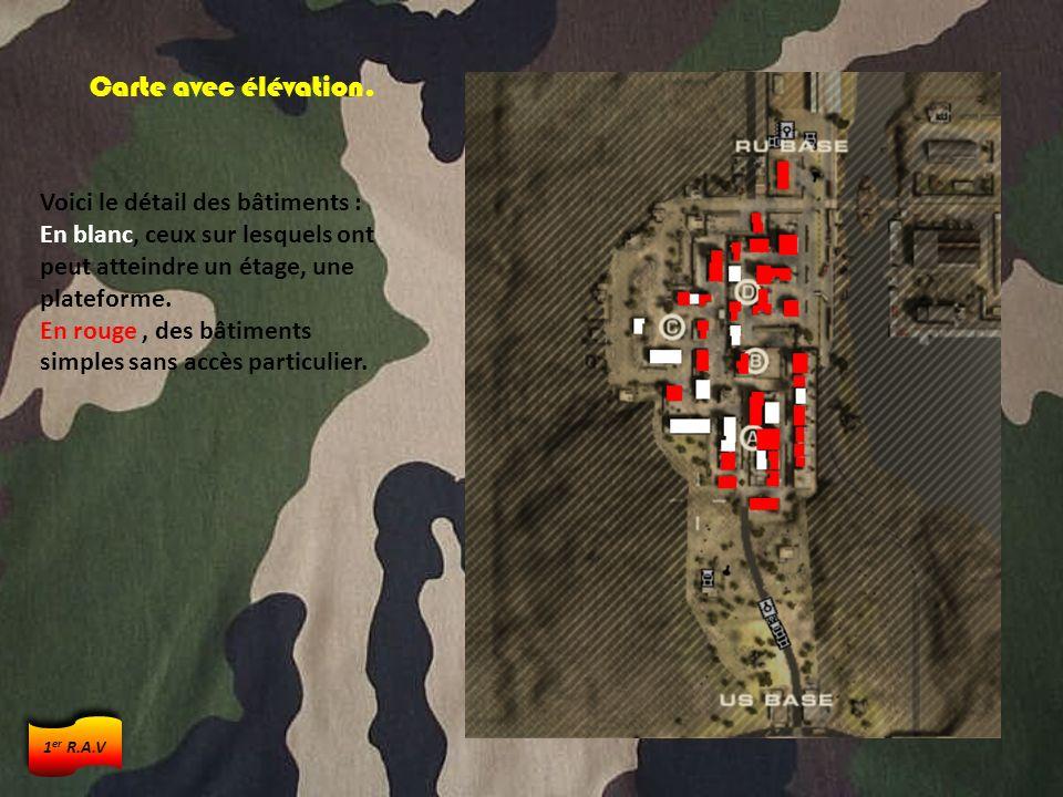 Carte avec élévation. Voici le détail des bâtiments : En blanc, ceux sur lesquels ont peut atteindre un étage, une plateforme. En rouge, des bâtiments