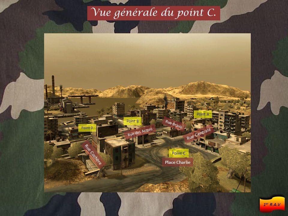 Rue Acquise Place Charlie Rue Chaude Rue Centrale Rue Bravo Point A Point B Rue du Cap Rue Acquise Point D Vue densemble entre A et C.