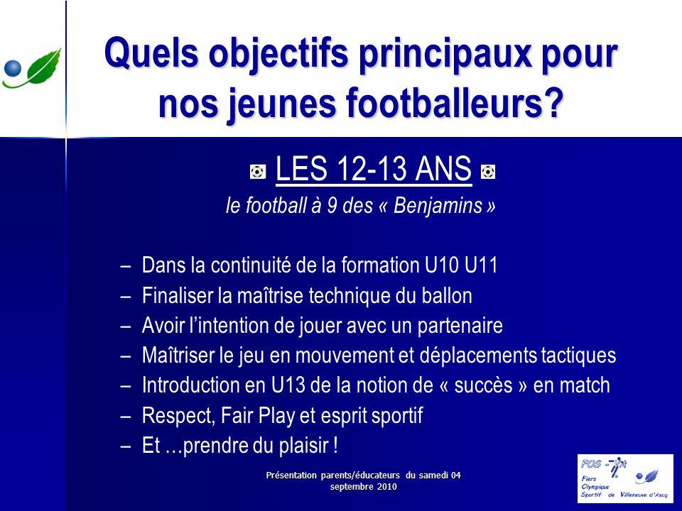 Présentation parents/éducateurs du samedi 04 septembre 2010 Quels objectifs principaux pour nos jeunes footballeurs? LES 12-13 ANS le football à 9 des